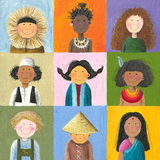Children of the world. Acrylic illustration of children of the world Stock Photography