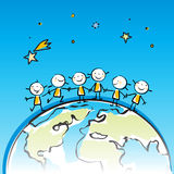 Children of the world. Happy kids on top of the planet holding hands cartoon  sticky little people Royalty Free Stock Photo