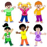 Children From The World. A Set of six Happy Childs Royalty Free Stock Images