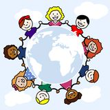 Children of the World. Children in a circular frame that is the sphere of the world stock illustration