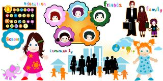 Children World. Family, community, friends, education Royalty Free Stock Photo
