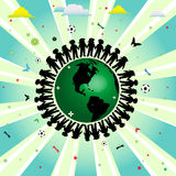 Children of the world. Abstract colorful illustration with children silhouettes surrounding  the earth Stock Photo