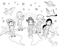 Children on the world in black and white. stock photos