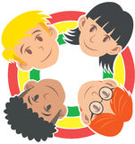 Children of World, Diversity in Harmony. Four children circle with different skin color and hair, with rainbow as background Royalty Free Stock Photography