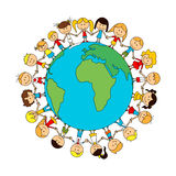 Children world friendship cartoon poster. Happy smiling kids around globe. Child unity and care concept vector symbol. Kindergarten boys and girls Stock Photography