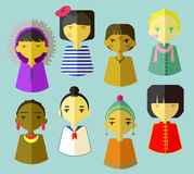Children of the world. Icons for children from six different ethnic origins: eskimo, french, south american indian, russian, african, japanese, bolivian and Stock Photos