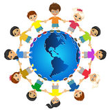 Children of the world. Kids of the world. International friendship day. Earth day. Vector illustration of diverse children holding hands Royalty Free Stock Photos
