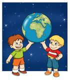 Children with the world map vector illustration