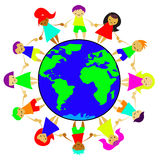 Children of the world on the planet. Children of the world are on the planet holding hands Stock Images