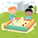 Children world without prejudice. Childrens world without prejudice. Multicultural characters children play together on the Playground. Vector illustration Royalty Free Stock Photos
