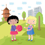 Children world without prejudice. Multicultural characters children play together on the Playground. Vector illustration Royalty Free Stock Images