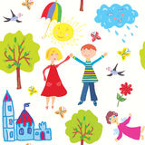 Children world seamless pattern Royalty Free Stock Photography