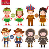 Children world usa hawaiian native american cowboys eskimo stock illustration