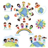 Children world vector happy kids on planet earth in peace and worldwide earthly friendship illustration peaceful. Childish set of boys or girls together stock illustration
