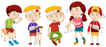 Children with wounds from accident vector illustration