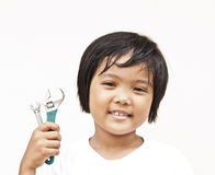 Children with wrench Royalty Free Stock Photos