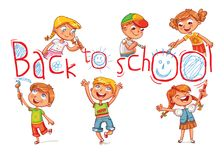 Children write a large inscription `Back to school`. Funny cartoon character. Vector illustration. Isolated on white background Royalty Free Stock Photo