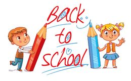 Back to School. Children write on the wall with large pencils. Children write big letters. The inscription Back to School. Funny cartoon character. Vector Stock Photo