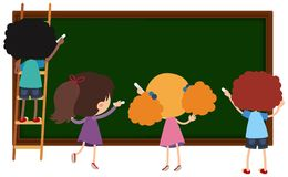 Children writing on chalkboard. Illustration stock illustration