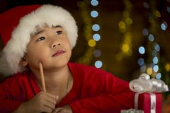 Children are writing letters to Santa Stock Photo