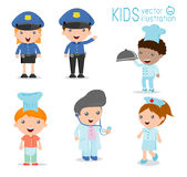 Children's dream jobs, professions in dream for kids, Happy children in work wear Stock Photos