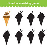 Children's educational game, find correct shadow silhouette. Sweets, ice cream, set the game to find the right shade. Vector Royalty Free Stock Image