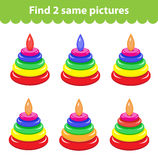 Children's educational game. Find two same pictures Stock Photos