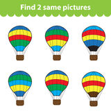 Children's educational game. Find two same pictures. Set of air balloon for the game find two same pictures. Vector illustrat Stock Photos