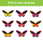 Children's educational game. Find two same pictures. Set of butterflies for the game find two same pictures. Vector illustrat Stock Images