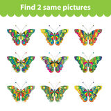 Children's educational game. Find two same pictures. Set of butterflies for the game find two same pictures. Vector illustrat Stock Photos