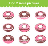 Children's educational game. Find two same pictures. Set of donuts for the game find two same pictures. Vector illustration. Stock Photos
