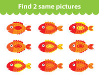 Children's educational game. Find two same pictures. Set of fish for the game find two same pictures. Vector illustration. Royalty Free Stock Images