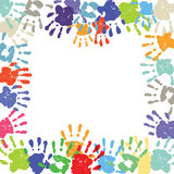 Children's hand print border Royalty Free Stock Photography