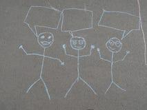 Children& x27; s kredowy rysunek na asfalcie Zdjęcia Stock