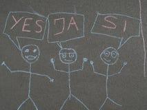 Children& x27; s kredowy rysunek na asfalcie Fotografia Stock