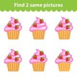 Children& x27; s onderwijsspel Vind twee zelfde beelden De reeks cupcakes voor het spel vindt twee zelfde beelden Vector illustra Royalty-vrije Stock Fotografie