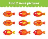 Children& x27; s onderwijsspel Vind twee zelfde beelden De reeks vissen voor het spel vindt twee zelfde beelden Vector illustrati Royalty-vrije Stock Afbeeldingen