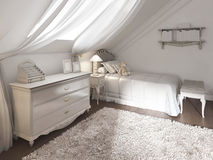 Children's room in classic style with bed and chest of drawers. Stock Photos