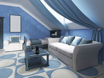 Children's room design in marine style for two children. Stock Photos