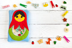 Children's toy made of colored fleece for the development motor skills Stock Photo