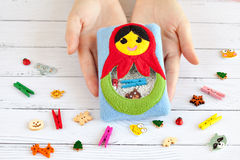 Children's toy made of colored fleece for the development motor skills Royalty Free Stock Photography