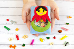 Children's toy made of colored fleece for the development motor skills Royalty Free Stock Photo