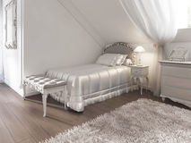 Children's white bed with blanket and pillows in art Deco style. Royalty Free Stock Photography