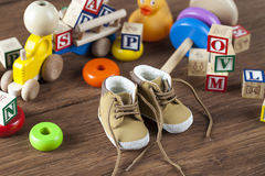 Children's World toy on a wooden background. Royalty Free Stock Photography