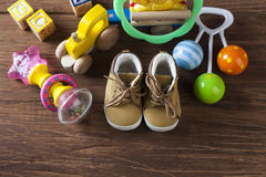 Children's World toy on a wooden background. Stock Photography