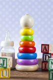 Children's World toy on a wooden background. Stock Image