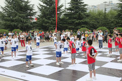 The children in xi 'an from xi 'an museum square performance chess reality TV Royalty Free Stock Image