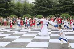 The children in xi 'an from xi 'an museum square performance chess reality TV Royalty Free Stock Photos