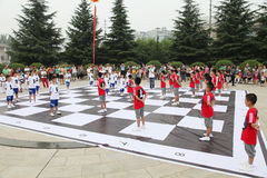 The children in xi 'an from xi 'an museum square performance chess reality TV Stock Photography