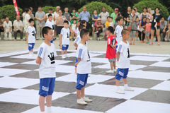 The children in xi 'an from xi 'an museum square performance chess reality TV Royalty Free Stock Photo